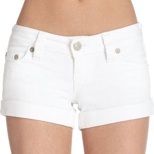 True Religion White Denim Cuffed Shorts